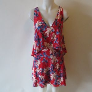 SILK RED FLORAL LAYERED DRESS SIZE SMALL
